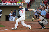 Pat Kelly (9) of the Cedar Rapids Kernels bats during a game against the Burlington Bees at Veterans Memorial Stadium on June 16, 2015 in Cedar Rapids, Iowa. (Brace Hemmelgarn/Four Seam Images)