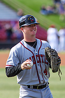 Quad Cities River Bandits catcher Jake Rogers (4) during a Midwest League game against the Wisconsin Timber Rattlers on April 8, 2017 at Fox Cities Stadium in Appleton, Wisconsin.  Wisconsin defeated Quad Cities 3-2. (Brad Krause/Four Seam Images)