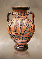 560-550 B.C Etruscan attica style amfora painted in the style of Lydos, inv 70995,   National Archaeological Museum Florence, Italy