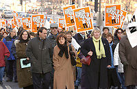 December 11,  2002, Montreal, Quebec, Canada; <br /> <br /> Members of the CSN march for equality between women and men, December 11, 2002,<br />  on Rene Levesque  street in Montreal, Canada<br /> <br /> (Mandatory Credit: Photo by Sevy - Images Distribution (©) Copyright 2002 by Sevy<br /> <br /> NOTE :  D-1 H original JPEG, saved as Adobe 1998 RGB.<br /> t.