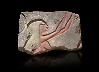 Ancient Egyptian Talatat block with a female worhiper of tambourine player relief, sandstone, New Kingdom, 18th Dynasty (1353-1336 BC), Thebes, Karnac. Egyptian Museum, Turin. Black background<br /> <br /> The talatat was introduced to increase the speed new monuments to Aten could be built. The talatat were smaller, about 52x26x24 cm, than the usual building blocks used and therfore were easier to handle and build with. They were first used on the new buildings of Akhenaten at Thebes during his reign, the, after his capital was moved , for the monumenta of Amarna. When Amon was restored all the Aten temples were taken down and their blocks used in other buildings. Over 100,000 talatat have been excavated so far in Thebes and they represent a massive jigsaw puzzle as archaeologist try to piece them together into their original reliefs.