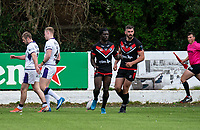Gideon Boafo of London Broncos scores in the corner during the Betfred Championship match between London Broncos and Newcastle Thunder at The Rock, Rosslyn Park, London, England on 9 May 2021. Photo by Liam McAvoy.