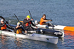 La Conner, Swinomish Channel, open water race, Sound Rowers Open Water Rowing and Paddling Club, Washington State, Pacific Northwest,  USA, RtoL: Kirk Christensen, Shane Martin, Shaun Sullivan and Larry Goolsby on a double,