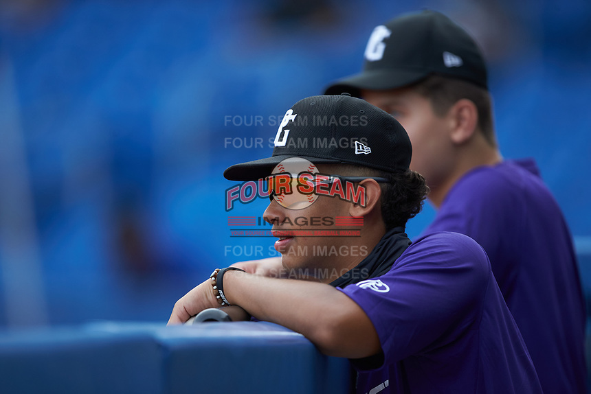 Julio Rivera (6) of South View High School in Fayetteville, NC watches from the dugout during the Atlantic Coast Prospect Showcase hosted by Perfect Game at Truist Point on August 22, 2020 in High Point, NC. (Brian Westerholt/Four Seam Images)