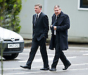 Paul Heggarty and Ally Dawson arrive at Mortonhall Crematorium for the funeral service of Sandy Jardine.