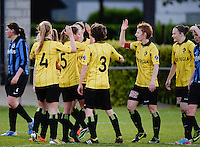 20140502 - VARSENARE , BELGIUM : Lierse pictured celebratint their 0-2 lead during the soccer match between the women teams of Club Brugge Vrouwen  and WD Lierse SK  , on the 26th matchday of the BeNeleague competition on Friday 2 May 2014 in Varsenare .  PHOTO DAVID CATRY