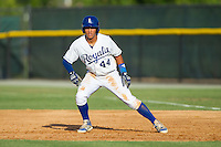 Marten Gasparini (44) of the Burlington Royals takes his lead off of first base against the Greeneville Astros at Burlington Athletic Park on June 29, 2014 in Burlington, North Carolina.  The Royals defeated the Astros 11-0. (Brian Westerholt/Four Seam Images)