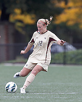 Boston College midfielder Jana Jeffrey (12) passes the ball. Pepperdine University defeated Boston College,1-0, at Soldiers Field Soccer Stadium, on September 29, 2012.