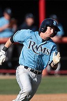 Jeff Roy #2 of the Rhode Island Rams runs to first base against the Cal State Northridge Matadors at Matador Field on March 14, 2012 in Northridge,California. Rhode Island defeated Cal State Northridge 10-8.(Larry Goren/Four Seam Images)