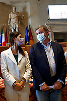 Three of the candidates mayor of Rome at the next elections, Virginia Raggi and Carlo Calenda during a conference in the Giulio Cesare hall of the Campidoglio. <br /> Rome (Italy), September 15th 2021<br /> Photo Samantha Zucchi Insidefoto
