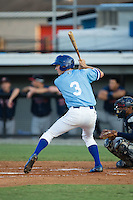 Brian Bien (3) of the Burlington Royals at bat against the Danville Braves at Burlington Athletic Park on August 13, 2015 in Burlington, North Carolina.  The Braves defeated the Royals 6-3. (Brian Westerholt/Four Seam Images)