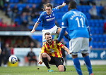 """St Johnstone v Partick Thistle...28.09.13      SPFL<br /> Stevie May is blocked by Stephen O""""Donnell<br /> Picture by Graeme Hart.<br /> Copyright Perthshire Picture Agency<br /> Tel: 01738 623350  Mobile: 07990 594431"""