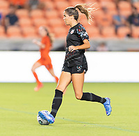 HOUSTON, TX - SEPTEMBER 10: Katie Johnson #33 of the Chicago Red Stars looks to pass the ball as she brings it up the field during a game between Chicago Red Stars and Houston Dash at BBVA Stadium on September 10, 2021 in Houston, Texas.
