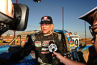 Apr 17, 2011; Surprise, AZ USA; LOORRS driver Robby Woods (99) is interviewed during round 4 at Speedworld Off Road Park. Mandatory Credit: Mark J. Rebilas-