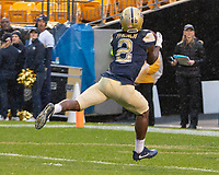 Pitt wide receiver makes a 50-yard touchdown catch. The Pitt Panthers football team defeated the Duke Blue Devils 54-45 on November 10, 2018 at Heinz Field, Pittsburgh, Pennsylvania.