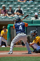 Jacob Wilson (4) of the Las Vegas Aviators at bat against the Salt Lake Bees at Smith's Ballpark on June 27, 2021 in Salt Lake City, Utah. The Aviators defeated the Bees 5-3. (Stephen Smith/Four Seam Images)