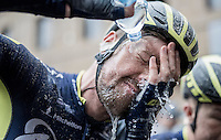 Luke Durbridge (AUS/Orica-Scott) clearing his eyes from mud after finishing the race in a very cool 6th place<br /> <br /> 11th Strade Bianche 2017