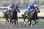 September 22, 2012. First time by the stands in the Cotillion Stakes: #2 Questing, Irad Ortiz Jr. up, is in the lead. My Miss Aurelia (#3, left) ridden by Corey Nakatani and trained by Steve Asmussen, wins the 43rd running of the Grade 1 Cotillion Stakes at Parx Racing in Bensalem, Pennsylvania. (Joan Fairman Kanes/Eclipse Sportswire)