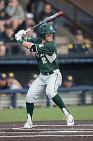 Michigan State Spartans third baseman Marty Bechina (2) at bat against the Michigan Wolverines during the NCAA baseball game on April 18, 2017 at Ray Fisher Stadium in Ann Arbor, Michigan. Michigan defeated Michigan State 12-4. (Andrew Woolley/Four Seam Images)