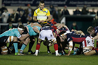 Rory Brand of London Scottish placing the ball into the scrum during the Greene King IPA Championship match between London Scottish Football Club and Nottingham Rugby at Richmond Athletic Ground, Richmond, United Kingdom on 7 February 2020. Photo by Carlton Myrie.