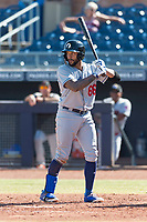 Glendale Desert Dogs first baseman Jared Walker (66), of the Los Angeles Dodgers organization, at bat during an Arizona Fall League game against the Peoria Javelinas at Peoria Sports Complex on October 22, 2018 in Peoria, Arizona. Glendale defeated Peoria 6-2. (Zachary Lucy/Four Seam Images)