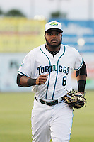 Daytona Tortugas outfielder Phillip Ervin (6) jogs to the dugout during a game against the Clearwater Threshers at Radiology Associates Field at Jackie Robinson Ballpark on May 9, 2015 in Daytona, Florida. Clearwater defeated Daytona 7-0. (Robert Gurganus/Four Seam Images)