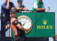 13th July 2021; The Royal St. George's Golf Club, Sandwich, Kent, England; The 149th Open Golf Championship, practice day; Daniel Croft (ENG) watches his tee shot at the par three 3rd hole