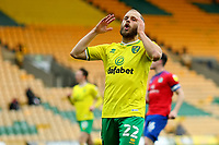 20th March 2021; Carrow Road, Norwich, Norfolk, England, English Football League Championship Football, Norwich versus Blackburn Rovers; Teemu Pukki of Norwich City holds his head as he misses a chance on goal