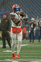 FOXBOROUGH, MA - OCTOBER 27: Cleveland Browns Wide Receiver Antonio Callaway #11 warming up before the game during a game between Cleveland Browns and New Enlgand Patriots at Gillettes on October 27, 2019 in Foxborough, Massachusetts.