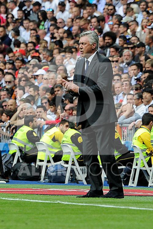 Real Madrid´s coach Carlo Ancelotti during 2014-15 La Liga match between Real Madrid and Eibar at Santiago Bernabeu stadium in Madrid, Spain. April 11, 2015. (ALTERPHOTOS/Luis Fernandez)