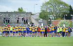 Clare stand for the anthem before their Munster U-21 hurling quarter final against Limerick  at Cusack park. Photograph by John Kelly.