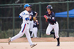 #13 Kanemitsu Ririna of Japan (R) runs after bat during the BFA Women's Baseball Asian Cup match between South Korea and Japan at Sai Tso Wan Recreation Ground on September 2, 2017 in Hong Kong. Photo by Marcio Rodrigo Machado / Power Sport Images