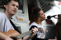 Wednesday 28 May 2014, Hay on Wye, UK<br /> Pictured: A young band performs outside the BBC Radio Wales Horizons trailer.<br /> Re: The Hay Festival, Hay on Wye, Powys, Wales UK.