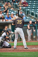 Mike Tauchman (35) of the Sacramento River Cats at bat against the Salt Lake Bees at Smith's Ballpark on August 16, 2021 in Salt Lake City, Utah. The Bees defeated the River Cats 6-0. (Stephen Smith/Four Seam Images)