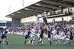 Dragons lock Andrew Coombs wins the line out ball.<br /> Guinness Pro12<br /> Gwent Dragons v Ulster<br /> 08.03.15<br /> ©Steve Pope - SPORTINGWALES
