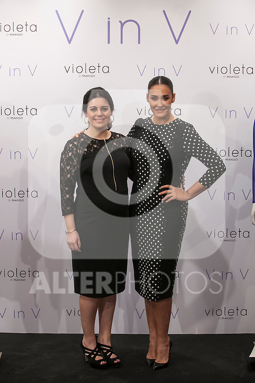Vicky Martin Berrocal (R) and Violeta Andic pose during V in V Violeta by Mango presentation in Madrid, Spain. March 11, 2015. (ALTERPHOTOS/Victor Blanco)