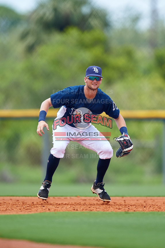 GCL Rays third baseman Allen Smoot (3) during the first game of a doubleheader against the GCL Twins on July 18, 2017 at Charlotte Sports Park in Port Charlotte, Florida.  GCL Twins defeated the GCL Rays 11-5 in a continuation of a game that was suspended on July 17th at CenturyLink Sports Complex in Fort Myers, Florida due to inclement weather.  (Mike Janes/Four Seam Images)