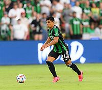 AUSTIN, TX - JUNE 19: Nick Lima #24 of Austin FC brings the ball up the field during a game between San Jose Earthquakes and Austin FC at Q2 Stadium on June 19, 2021 in Austin, Texas.