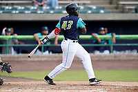 Third baseman Jhonkensy Noel (43) of the Lynchburg Hillcats in a game against the Delmarva Shorebirds on Wednesday, August 11, 2021, at Bank of the James Stadium in Lynchburg, Virginia. (Tom Priddy/Four Seam Images)