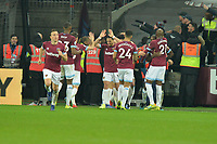 Michail Antonio of West Ham United scores the equaliser and celebrates during West Ham United vs Liverpool, Premier League Football at The London Stadium on 4th February 2019