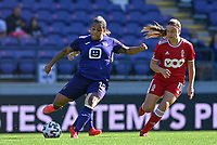 Mariam Abdulai Toloba (19) of Anderlecht pictured with Davinia Vanmechelen (10) of Standard  during a female soccer game between RSC Anderlecht Dames and Standard Femina de Liege on the sixth matchday of the 2021 - 2022 season of Belgian Womens Super League , saturday 9 th of October 2021  in Brussels , Belgium . PHOTO SPORTPIX | DAVID CATRY