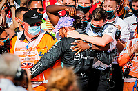 HAMILTON Lewis (gbr), Mercedes AMG F1 GP W12 E Performance, portrait celebrating his 99th win during the Formula 1 Pirelli British Grand Prix 2021, 10th round of the 2021 FIA Formula One World Championship from July 16 to 18, 2021 on the Silverstone Circuit, in Silverstone, United Kingdom - <br /> Formula 1 GP Great Britain Silverstone 18/07/2021<br /> Photo DPPI/Panoramic/Insidefoto <br /> ITALY ONLY