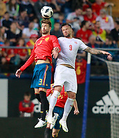 Spain's Gerard Pique (l) and Switzerland's Haris Seferovic during international friendly match. June 3,2018.(ALTERPHOTOS/Acero) /NortePhoto.com
