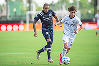 LAKE BUENA VISTA, FL - JULY 9: Alexander Callens #6 of NYCFC battles for the ball during a game between New York City FC and Philadelphia Union at Wide World of Sports on July 9, 2020 in Lake Buena Vista, Florida.
