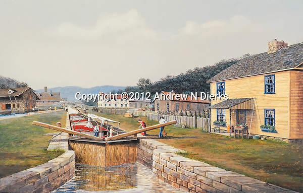 """Canal lock in operation near the holding basin in the town of Hollidaysburg, PA, in the 1830's; locktender's house on the right and the Rising Sun Tavern in the distance. Available as a 11.5"""" x 19.5"""" fine art limited edition lithograph, with a detailed Certificate of Authenticity showing names of all the buildings."""