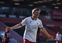 2nd April 2021; Vitality Stadium, Bournemouth, Dorset, England; English Football League Championship Football, Bournemouth Athletic versus Middlesbrough; Duncan Watmore of Middlesbrough celebrates scoring in 63rd minute 1-1