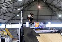 BOGOTA - COLOMBIA - 12 - 08 - 2017: Jessy Bart, Skater, de Canada, durante competencia en el Primer Campeonato Panamericano de Skateboarding, que se realiza en el Palacio de los Deportes en la Ciudad de Bogota. / Jessy Bart, Skater, from Canada, during a competitions in the First Pan American Championship of Skateboarding, that takes place in the Palace of Sports in the City of Bogota. Photo: VizzorImage / Luis Ramirez / Staff.