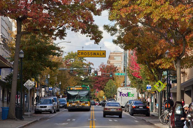 Seattle, University District, University Way, autumn, Metro bus, student neighborhood for the University of Washington, Washington State, United States, North America,