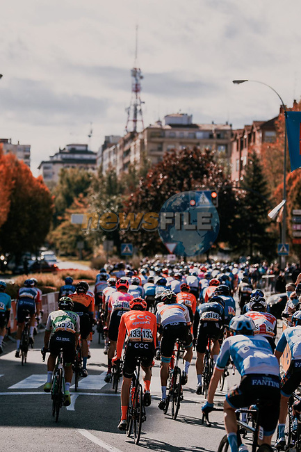 The start of Stage 8 of the Vuelta Espana 2020 running 160km from Logroño to Alto de Moncalvillo, Spain. 28th October 2020. <br /> Picture: Unipublic/BaixauliStudio | Cyclefile<br /> <br /> All photos usage must carry mandatory copyright credit (© Cyclefile | Unipublic/BaixauliStudio)