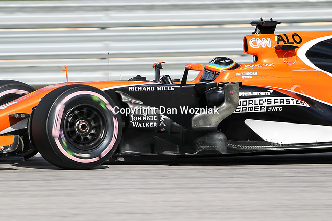 McLaren driver Fernando Alonso (14) of Spain in action during qualifying before this weekends Formula 1 United States Grand Prix race at the Circuit of the Americas race track in Austin,Texas.